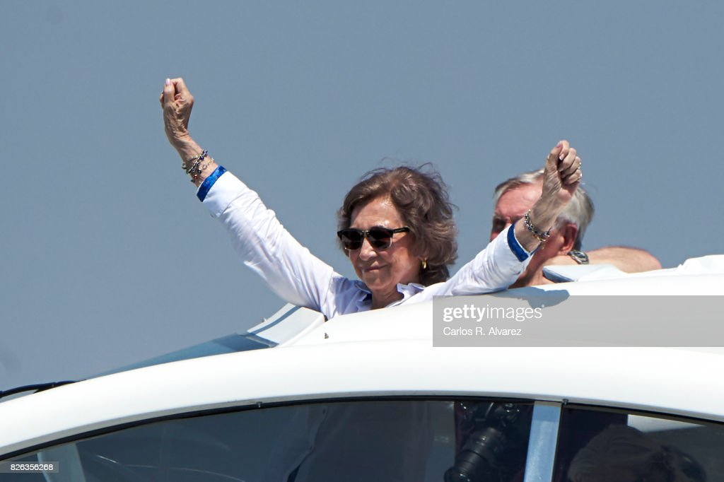 Queen Sofia is seen on board of Somni during the 36th Copa Del Rey Mafre Sailing Cup on August 4, 2017 in Palma de Mallorca, Spain.