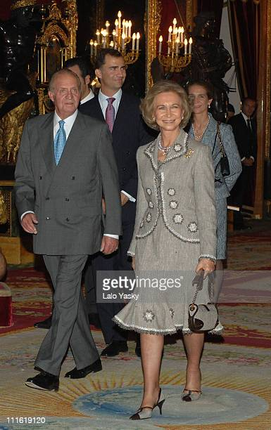 Queen Sofia King Juan Carlos and Prince Felipe during Spain's National Day Military Parade October 12 2006 at Paseo de la Castellana in Madrid Madrid...