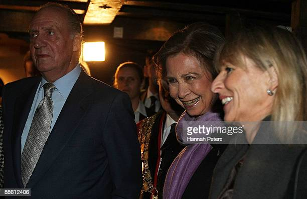 Queen Sofia King Juan Carlos of Spain and Lady Pippa Blake are shown around the Maritime Museum by chairman Alister Aitken on June 22 2009 in...