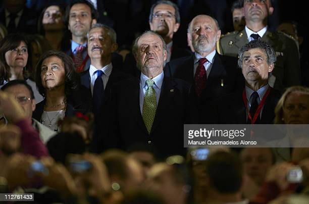 Queen Sofia, King Juan Carlos of Spain and President of the Spanish Football Federation Angel Maria Villar attend the Copa del Rey final match...