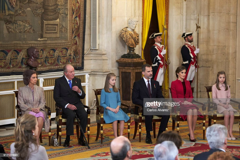 Queen Sofia, King Juan Carlos, Princess Leonor of Spain, King Felipe VI of Spain, Queen Letizia of Spain and Princess Sofia attend the Order of Golden Fleece (Toison de Oro), ceremony at the Royal Palace on January 30, 2018 in Madrid, Spain. Today is King's Felipe 50th birthday.