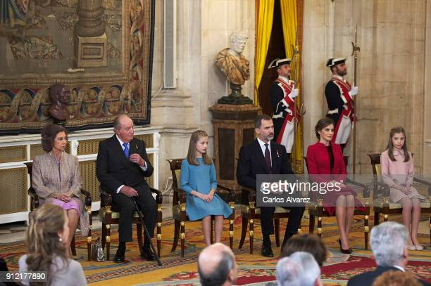 Queen Sofia King Juan Carlos Princess Leonor of Spain King Felipe VI of Spain Queen Letizia of Spain and Princess Sofia attend the Order of Golden...