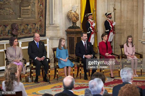 Queen Sofia King Juan Carlos Princess Leonor of Spain King Felipe VI of Spain Queen Letizia of Spain and Princess Sofia of Spain attend the Order of...