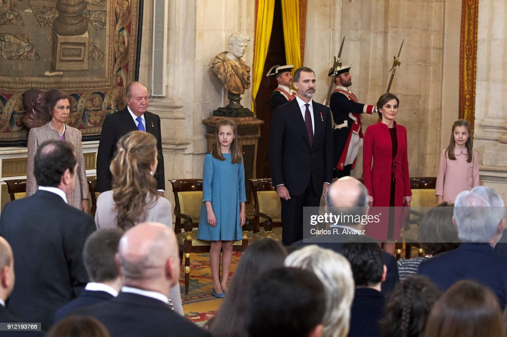 Queen Sofia, King Juan Carlos, Princess Leonor of Spain, King Felipe VI of Spain, Queen Letizia of Spain and Princess Sofia of Spain attend the Order of Golden Fleece (Toison de Oro), ceremony at the Royal Palace on January 30, 2018 in Madrid, Spain. Today is King's Felipe 50th birthday.