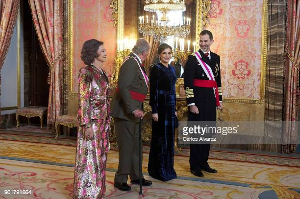 Queen Sofia, King Juan Carlos, Queen Letizia of Spain and King Felipe VI of Spain attend the Pascua Militar ceremony at the Royal Palace on January...