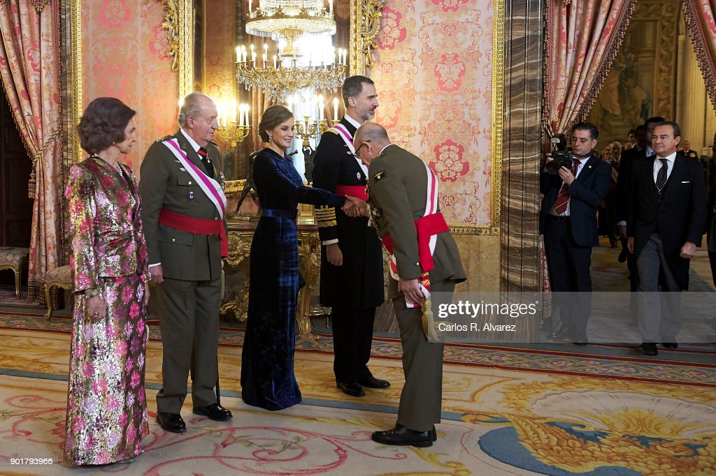 Queen Sofia, King Juan Carlos, Queen Letizia of Spain and King Felipe VI of Spain attend the Pascua Militar ceremony at the Royal Palace on January 6, 2018 in Madrid, Spain.