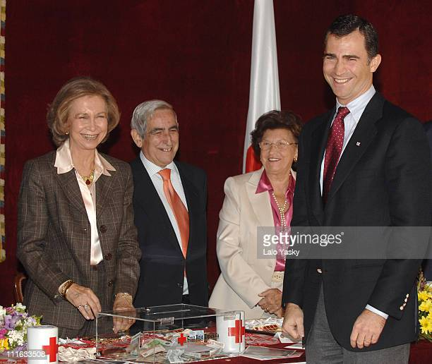 Queen Sofia left and Prince Felipe right during Spanish Royals Presided During Red Cross Fundraising Day in Madrid Madrid Spain