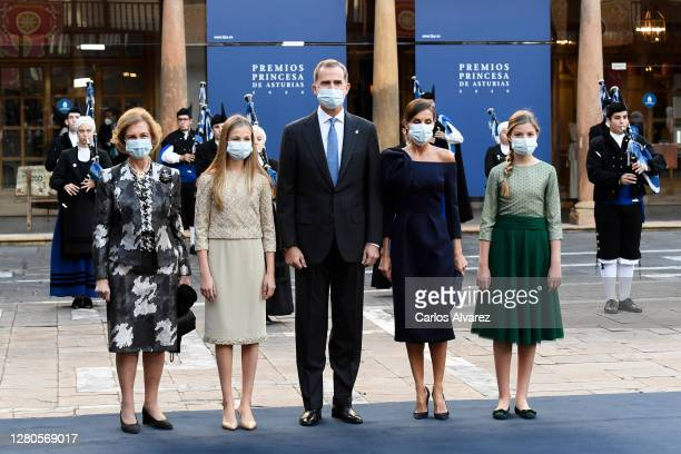 Queen Sofia, Leonor Princess of Asturias, King Felipe VI of Spain, Queen Letizia of Spain and Infanta Sofía of Spain attend the Princesa de Asturias...