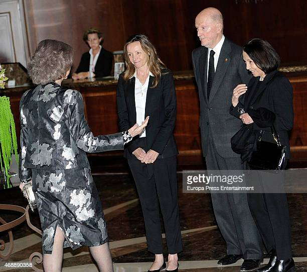 Queen Sofia, Miriam de Ungria, King Simeon of Bulgaria and Queen Margarita Gomez-Acebo attend the funeral chapel for Prince Kardam of Bulgaria on...