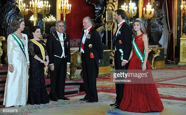 Queen Sofia of Sofia of Spain, Wafaa Suleiman, Michel Suleiman, King Juan Carlos Spain, Prince Felipe of Spain and Princess Letizia of Spain attend a...