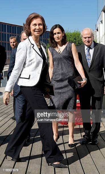 Queen Sofia of Spain and Angeles Gonzalez Sinde attend 'San Francisco de Asis' Opera Theatre at Madrid Arena on July 6 2011 in Madrid Spain