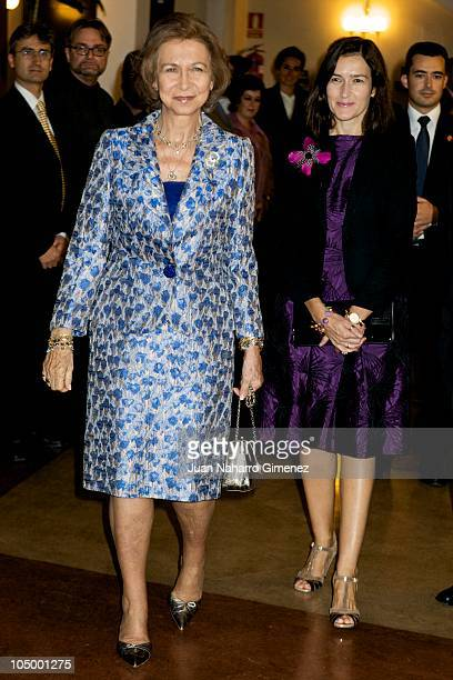 Queen Sofia of Spain and Angeles Gonzalez Sinde attend the 'XXVII Premio Reina Sofia de Composicion Musical 2009' at Monumental Theater on October 7...