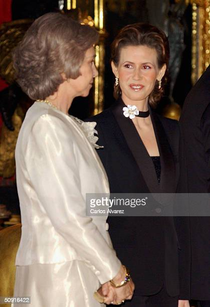 Queen Sofia of Spain and Asma alAssad during the Gala Dinner held in honour ofPresident Bashar alAssad and his wife Asma at the Zarzuela Palace on...