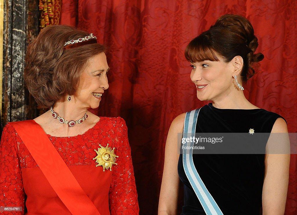Spanish Royals Host Gala Dinner Honouring Nicolas Sarkozy & Carla Brun : News Photo
