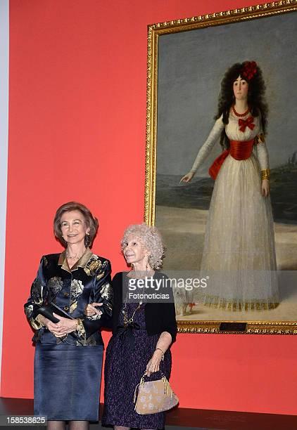 Queen Sofia of Spain and Cayetana FitzJames Stuart Duchess of Alba attend 'El Legado Casa de Alba' exhibition at the Palacio de Cibeles on December...