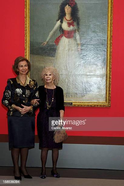 Queen Sofia of Spain and Duchess of Alba Cayetana FitzJames Stuart attend El Legado Casa de Alba Art exhibition at the Palacio de Cibeles on December...