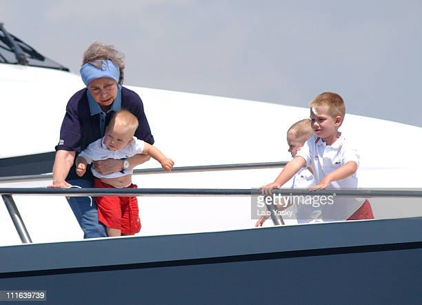 Queen Sofia of Spain and her grandsons Juan Pablo and Miguel