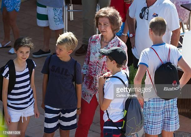 Queen Sofia of Spain and her grandsons Victoria Federica Marichalar, Pablo Nicolas Urdangarin, Miguel Urdangarin and Juan Valentin Urdangarin arrive...