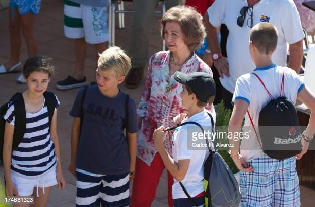 Queen Sofia of Spain and her grandsons Victoria Federica Marichalar Pablo Nicolas Urdangarin Miguel Urdangarin and Juan Valentin Urdangarin arrive at...