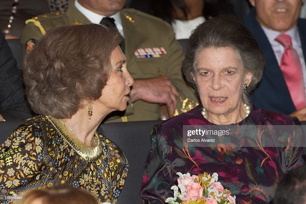 Queen Sofia of Spain (L) and her sister Princess Irene of Greece (R) attend 'India en Concierto' concert at Caixa Forum on June 19, 2012 in Madrid, Spain.