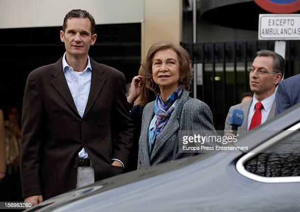 Queen Sofia of Spain and Inaki Urdangarin visit King Juan Carlos of Spain on November 25 2012 in Madrid Spain King Juan Carlos of Spain underwent an...