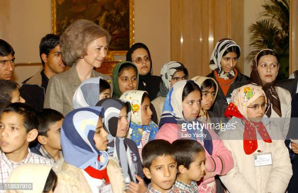 Queen Sofia of Spain and Iranian Orphan Children Victims and Survivers of Iran Earthquake at Zarzuela Palace in Madrid
