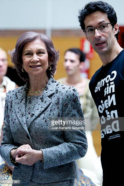 Queen Sofia of Spain and Jose Carlos Martinez visit the National Dance Company at National Dance Company on February 24 2014 in Madrid Spain