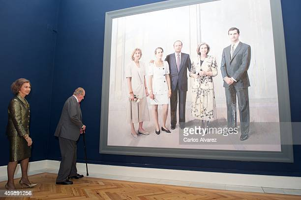 Queen Sofia of Spain and King Juan Carlos of Spain attend the El Retrato en las Colecciones Reales de Juan de Flandes a Antonio Lopez exhibition at...