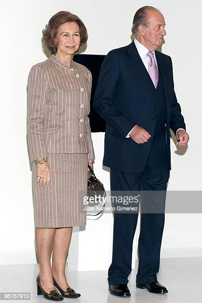 Queen Sofia of Spain and King Juan Carlos of Spain attend the inauguration of the Centro Municipal de Exposiciones y Congresos 'Lienzo Norte' on...
