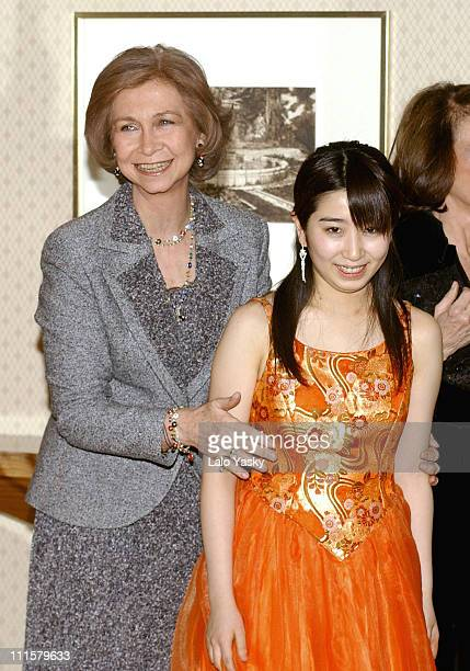 Queen Sofia of Spain and Mayu Kishima during Queen Sofia of Spain Attends Mstislav Rostropovich Concert February 16 2005 at Auditorio Nacional de...