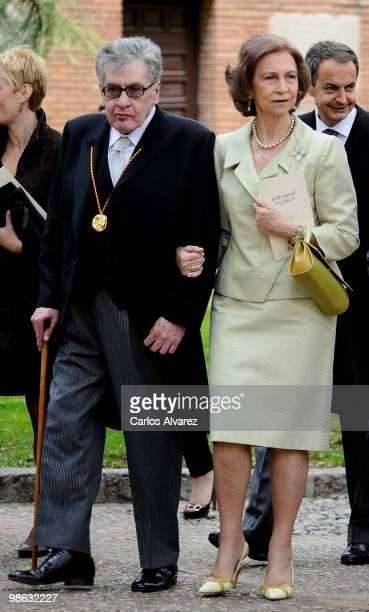 Queen Sofia of Spain and Mexican writer Jose Emilio Pacheco after the Cervantes Prize ceremony at Alcala de Henares University on April 23 2010 in...