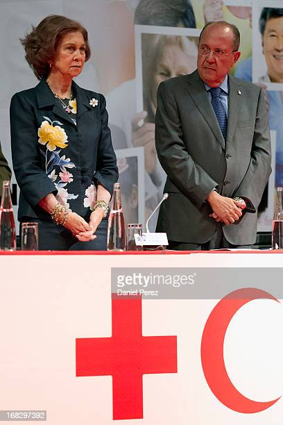 Queen Sofia of Spain and President of the International Federation of Red Cross and Red Crescent Societies Juan Manuel Suarez del Toro attend 'Red...