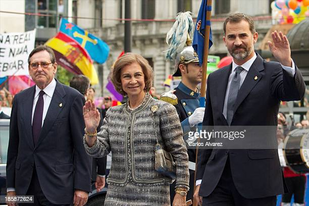 Queen Sofia of Spain and Prince Felipe of Spain attend the 'Prince of Asturias Awards 2013' ceremony at the Campoamor Theater on October 25 2013 in...