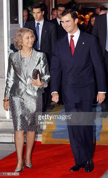 Queen Sofia of Spain and Prince Felipe of Spain during Woody Allen Arthur Miller Honored With 2002 Prince of Asturias Awards at Campoamor Theatre in...