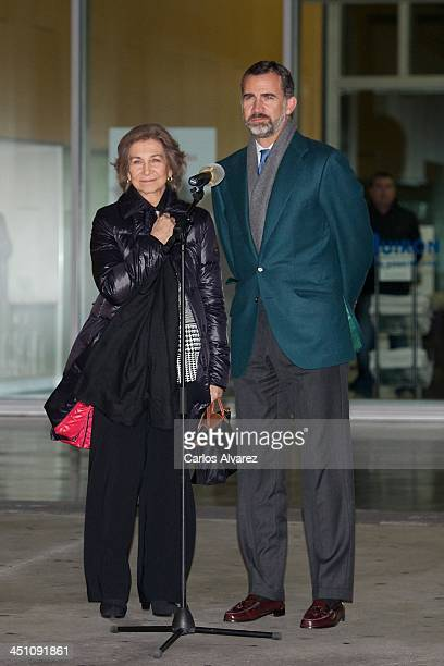 Queen Sofia of Spain and Prince Felipe of Spain speak to press after their visit to King Juan Carlos of Spain at the Quiron University Hospital on...