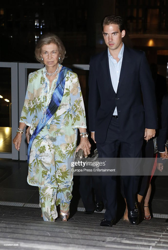 Queen Sofia of Spain (L) and Prince Philippos of Greece attend the Golden Wedding Anniversary of King Constantine II and Queen Anne Marie of Greece at Acropolis Museum on September 17, 2014 in Athens, Greece.