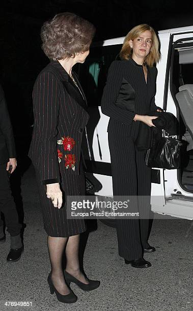 Queen Sofia of Spain and Princess Cristina of Spain attend a screening of a documentary about King Paul I of Greece on March 5 2014 in Athens Greece