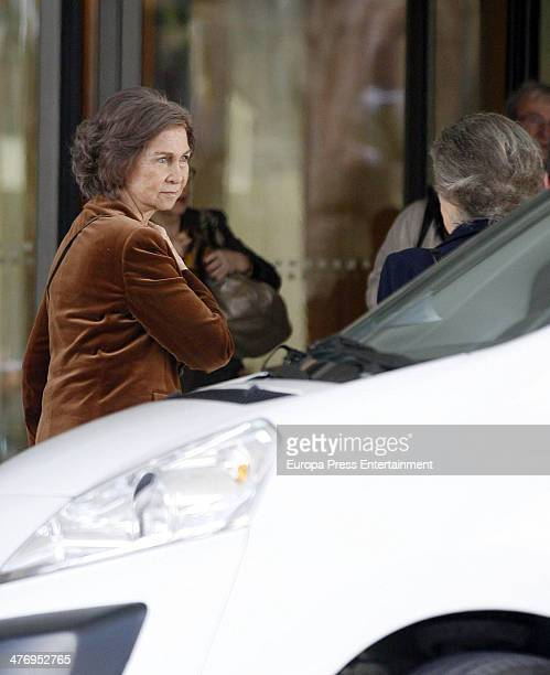 Queen Sofia of Spain and Princess Irene of Greece are seen arriving at hotel on March 5 2014 in Athens Greece