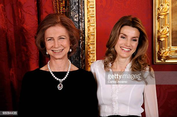 Queen Sofia of Spain and Princess Letizia of Spain attend a Dinner honouring Hungarian President Laslo Solyom at the Royal Palace on November 16 2009...