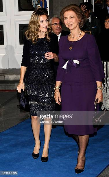 Queen Sofia of Spain and Princess Letizia of Spain attend Prince of Asturias Awards 2009 ceremony at Campoamor Theatre on October 23 2009 in Oviedo...