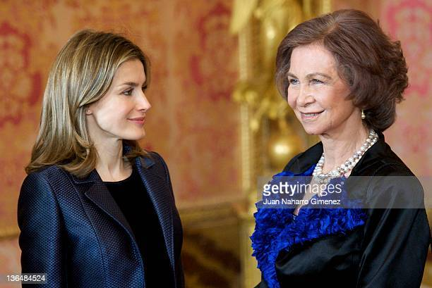 Queen Sofia of Spain and Princess Letizia of Spain attend the Pascua Militar Ceremony at Palacio Real on January 6 2012 in Madrid Spain
