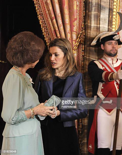 Queen Sofia of Spain and Princess Letizia of Spain receive foreign ambassadors at The Royal Palace on January 18 2011 in Madrid Spain