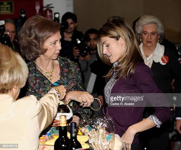 Queen Sofia of Spain and Princess Letizia of Spain visit Rastrillo Nuevo Futuro on November 23 2009 in Madrid Spain
