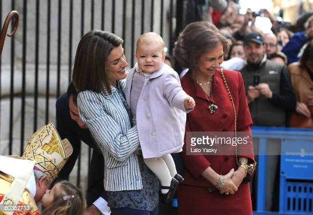 Queen Sofia of Spain and Princess Letizia of Spain with her daughter Sofia arrive at Palma de Mallorca's Cathedral to celebrate Easter Sunday Mass on...