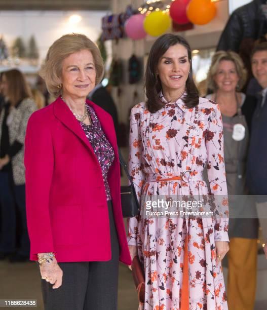 Queen Sofia of Spain and Queen Letizia of Spain attend 'Rastrillo Nuevo Futuro' on November 19 2019 in Madrid Spain