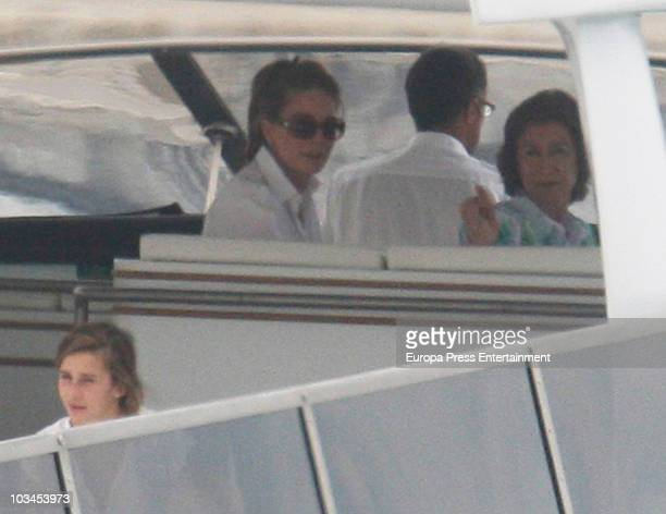 Queen Sofia of Spain and Queen Noor of Jordan are seen enjoying the summer aboard a Spanish Royal Yacht on August 18 2010 in Mallorca Spain