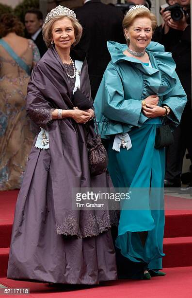 Queen Sofia Of Spain And Queen Paola Of Norway At The Royal Wedding In Copenhagen Cathedral