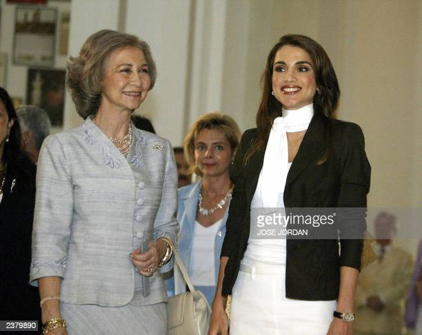Queen Sofia of Spain and Queen Rania of Jordan during their visit to the exhibit 'Breaking the Veils Women Artists from the Islamic World' in San Pio...