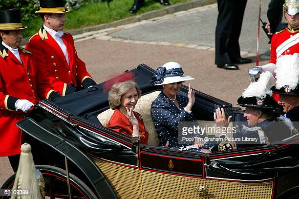 Queen Sofia Of Spain And Queen Sonja Of Norway Riding In A Open Carriage With King Harald Of Norway And King Juan Carlos Of Spain At The Annual Order...