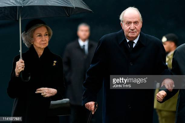 Queen Sofia of Spain and Spain´s former King Juan Carlos I arrive for the funeral ceremony of Jean d'Aviano Grand Duke of Luxembourg on May 4 in...